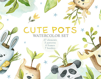 Watercolor Cute Pots Set
