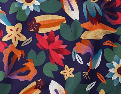 Elephants and Flowers - Illustration & Fabric Prints
