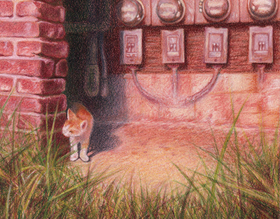 """""""Cat in the Summer,"""" Colored Pencil"""