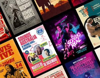 Colección de posters y flyer de recitales 2017