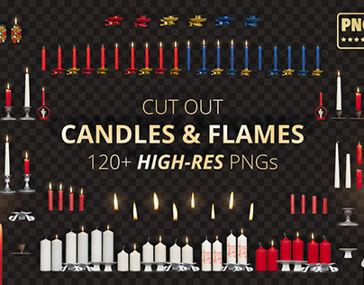 Cut Out Candles & Flames - PNGs