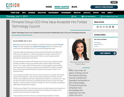 Press Release: Nina Accepted into Forbes Tech Council