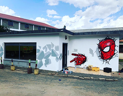 Spider man themed mural for a filming studio