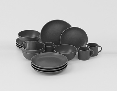 Free Dinnerware Set 3D Model