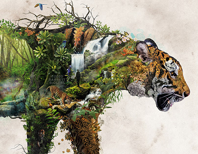 Tiger surreal digital collage photomanipulation art