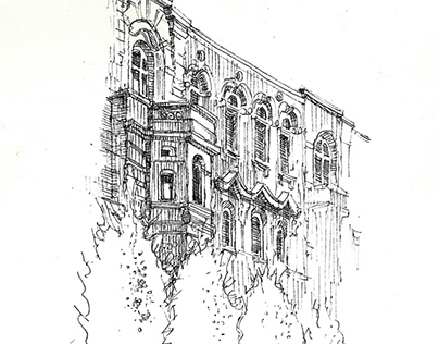 Łódź ,freehand architecture sketch