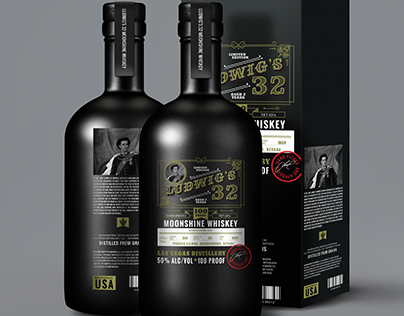 Ludwig's 32 Moonshine Whiskey Packaging