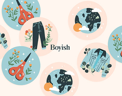 Boyish Jeans | Packaging & stickers | Illustration