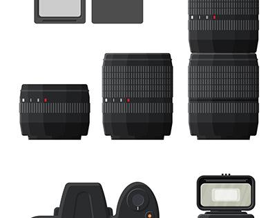 Modern photo camera set