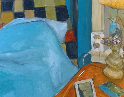 """Painting House"" interior scenes, oil on panel"
