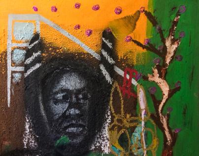 "Fearful By CAM. 24""x24"" oil, mud, acrylic, pastel wood"
