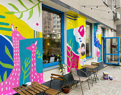 Murals for book store-coffee shop