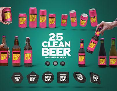 25 CLEAR BEER MOCKUPS BUNDLE