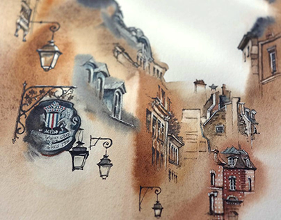 architectural watercolor - Paris 2020