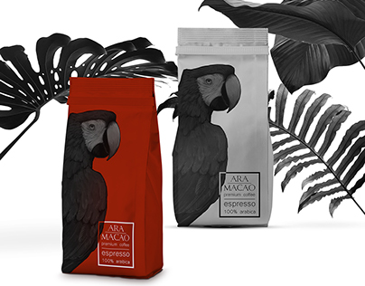 """Ara Macao"" coffee package design"