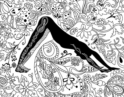 Coloring book page Yoga