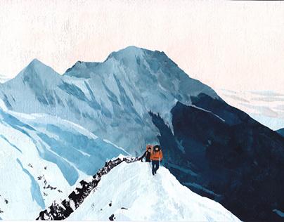 The Yatsugatake Mountains (acrylics, 2021)