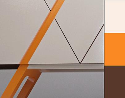 Orange Stripe Commode