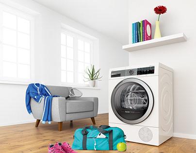 Bosch 3D Key visual - Clothes dryer for sportsmen