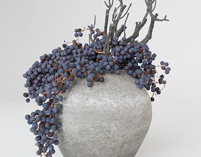 3d model Decor dry grape in ceramic vase