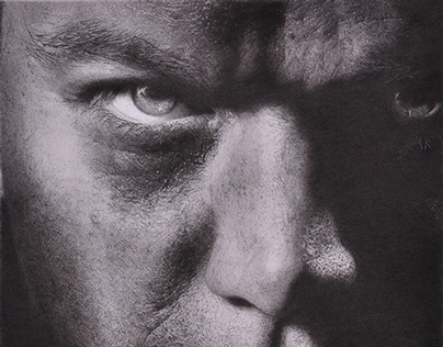 Jason Bourne Charcoal Portrait