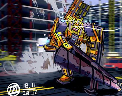 Drill Robot Illustration