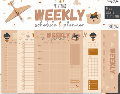 Weekly Schedule, Weekly Planner, Printable Timetable.