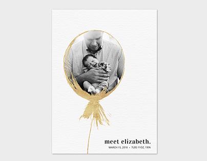 Birth Announcement Card Template - Balloon