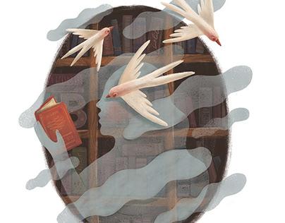 Wine label illustration for Bibliotheca Bar