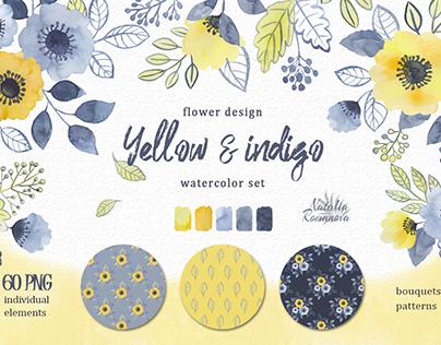 Yellow and indigo watercolor set