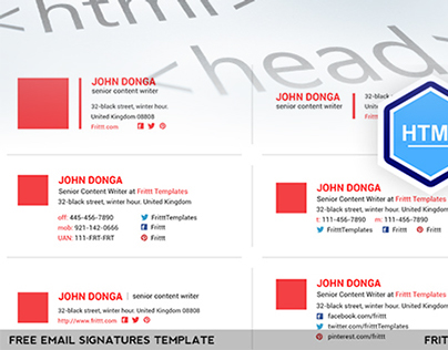 Free Download Email Signatures Html Template On Behance