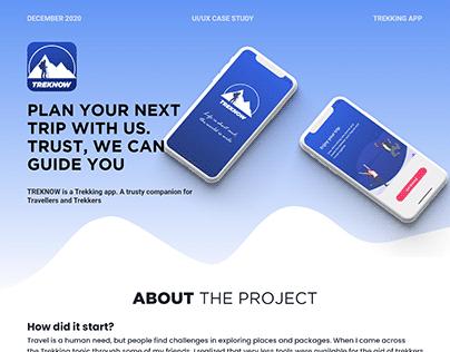 UI/UX Case Study for 'TREKNOW' App