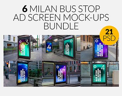 Milan Bus Stop Advertising Screen Mock-Ups Bundle