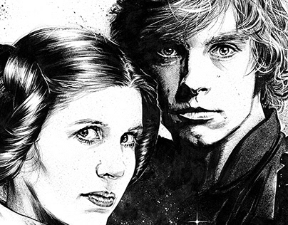 Illustration - Star Wars' Luke and Leia