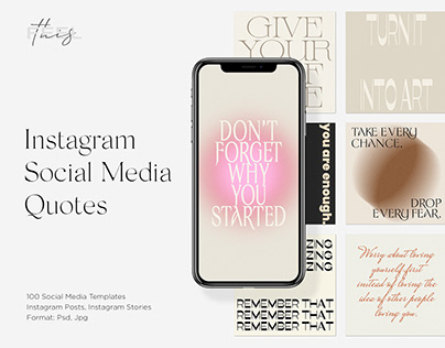 Instagram Social Media Quotes Editable Templates PS