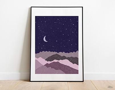 Moon 1-3 - digital illustration posters