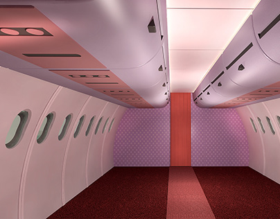Interior de Avión estilo animación 3D infantil