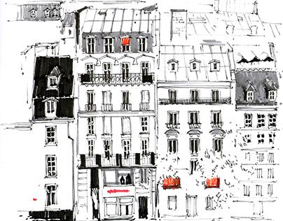 City scape / ballpoint pen / graphics