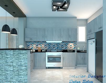 modern reception with open kitchen