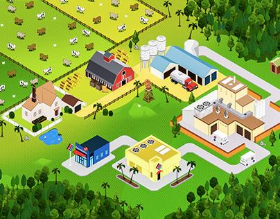 Domino's Pizza Farm Illustration