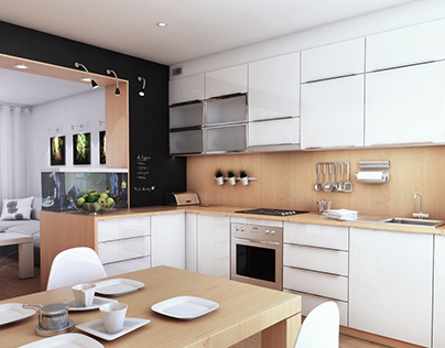 simply modern kitchen and living room