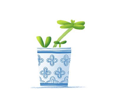 Pots & Plants // Blue & Yellow