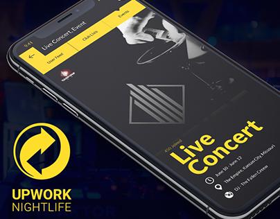 UpdownNightlife Club iOS App UI/UX Design - iPhone X