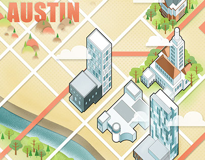 Illustrated Map of Austin Texas