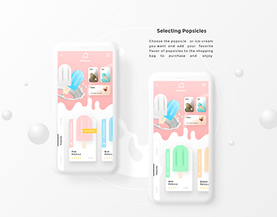 Yummie Popsicles and Ice-cream customising App UI