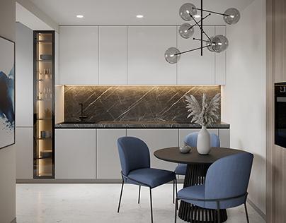 Small cozy apartment with indigo color