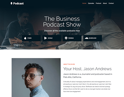 Podcast website, Landing page wordpress elementor pro