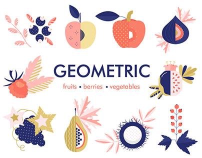 Geometric fruits,berries,vegetables.