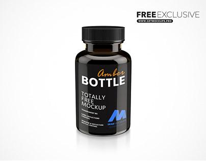 Free Plastic Amber Bottle Mockup