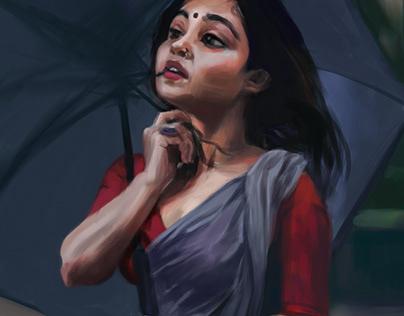 Girl with grey saree
